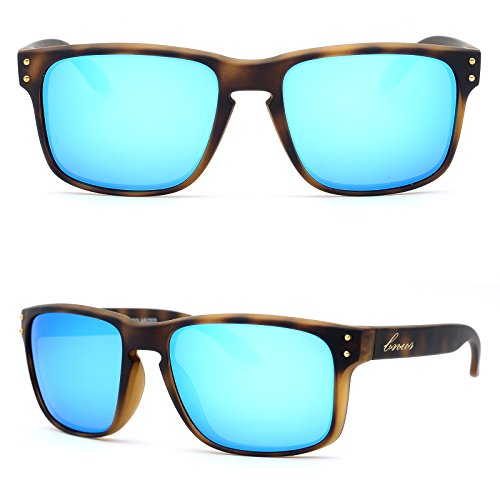 BNUS Italy made Classic Sunglasses Corning Real Glass Lens w. Polarized Option (Frame: Matte Tortoise / Lens: Blue Flash, Polarized)