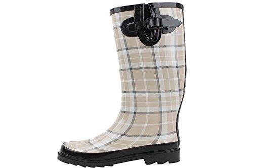 Women's Sunville Plaid Boots Rain Brand Beige Rubber New r00qE