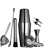 11 Pieces Boston Cocktail Shaker Set for Professional Bartender and Home Bar: 2 Weighted Shaker Tins, Strainer Set, Measuring Jigger, Ice Muddler & Tong, Mixing Spoon and 2 Liquor Pourers