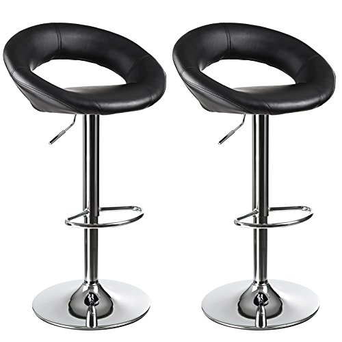 SONGMICS Adjustable Armless Leather Barstool