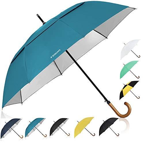 ZEKAR Wooden J-Handle Umbrella, 54/62/68 inch, UV & Classic Versions, Large Windproof Stick Umbrella, Auto Open for Men and Women (68 Umbrella Windproof Inch)