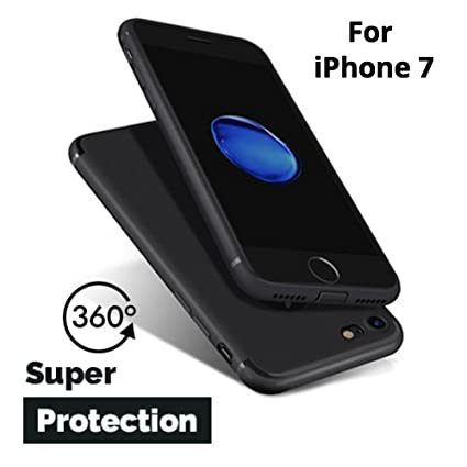 buy popular 44d7d 6ca44 Mobilify's 360 Degree with Anti Dust Plugs Shockproof Slim Back Case Cover  for Apple iPhone 7 (4.7-inch Display) - Pitch Black with Matte Finish ...