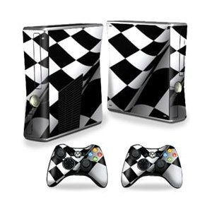 MightySkins Skin Compatible with Microsoft Xbox 360 S Slim + 2 Controller Skins wrap Sticker Skins Checkered Flag