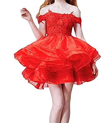 Dydsz Women's Off Shoulder Ball Gown Short Prom Party Dresses Homecoming Plus Size D13
