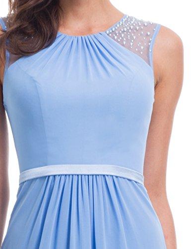Pretty Blau Maxikleider Lang Abendkleider Ärmellos 08742 Elegant Damen Perlen Ever 6nz0dT6