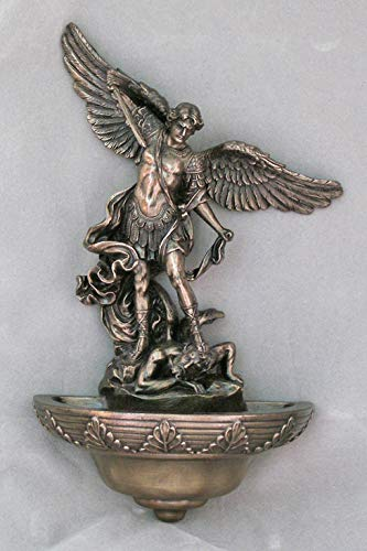 St. Michael Holy Water font in a cold-cast bronze, 9