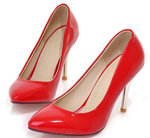 YCMDM Alta - tacco a punta sceglie i pattini Moda Scarpe casual donne a punta in pelle Nuova Primavera Autunno Moda Albicocca Bianco Rosso Nero Verde 34 35 36 37 38 39 , red , 36