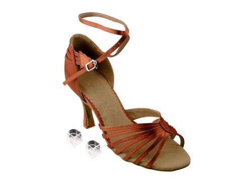 Ladies Women Ballroom Dance Shoes for Latin Salsa Tango SERA1139 Dark Tan Satin 2.5 Heel vvRjeRU