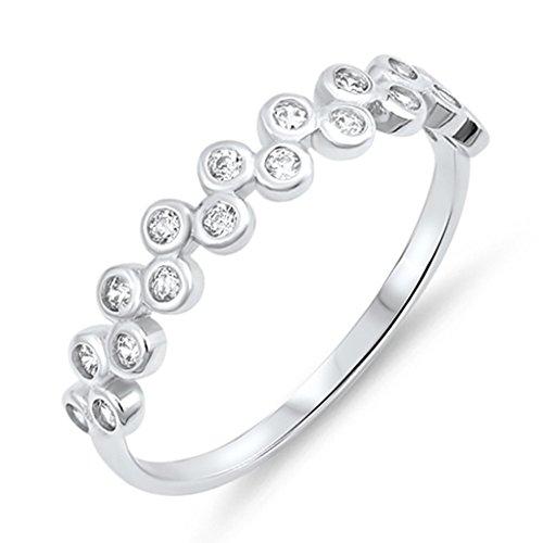 Bezel Half Band Eternity (Bubbles Bezel Round Set Half Eternity Band Sterling Silver Cubic Zirconia Everyday Jewelry Size 4)