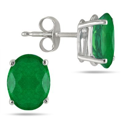 1-Carat-Genuine-Emerald-Oval-Stud-Earrings-925-Sterling-Silver-Rhodium-Finish