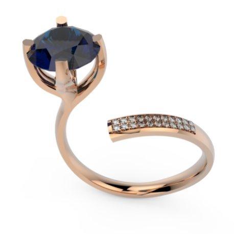 ZIGZAG BRILLANT Bagues Or Rose 18 carats Saphir Bleu 0,6 Rond