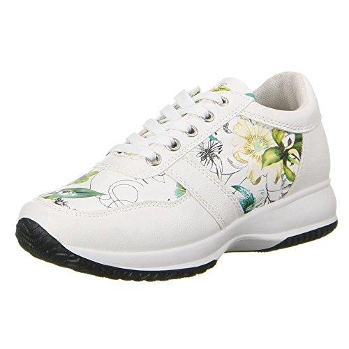 Ital-Design - zapatilla baja Mujer Blanco - Weiß Grün