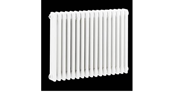 Hudson Reed Radiador Calentador Tradicional Diseño Horizontal Triple - Acero Acabado Blanco - 1.290 Vatios - 600mm x 788mm - Calefacción Central De Agua ...