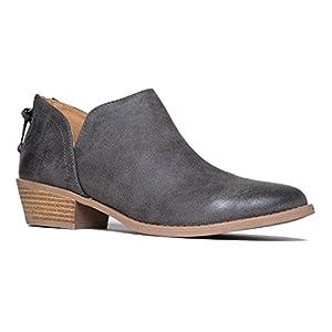 Cute Western Cowboy Bootie - Womens Pointed Toe Slip on Ankle Boot - Zip Up Low Heel - Levi by J. Adams,Grey Pu,8 B(M) US