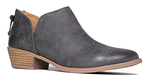Cute Western Cowboy Bootie - Womens Pointed Toe Slip on Ankle Boot - Zip Up Low Heel - Levi by J. Adams,Grey Pu,8 B(M) US (Payless Shoes For Girls Boots)