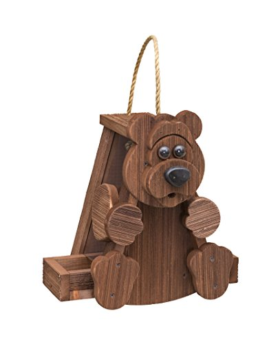 Rustic BEAR Bird Feeder Amish Handcrafted Made in USA !