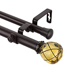 Rod Desyne Supreme Double Curtain Rod, 28 by 48-Inch, Clear Champagne