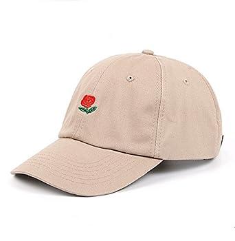XUNQIARS Unisex Rose Flower Embroidered Cotton Adjustable Strapback Dad Hat Baseball Cap