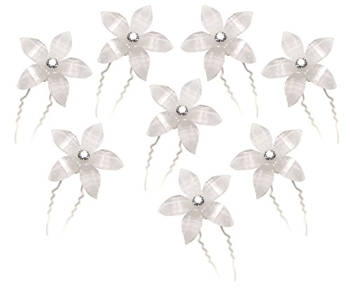 White Flower Hair Pins with Rhinestone Crystal for Wedding, Prom, Dance and Special Event (Set of 8)
