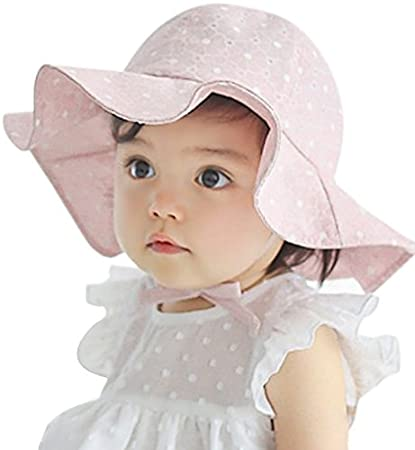df18eda2612 Image Unavailable. Image not available for. Color  Sumolux Infants Baby  Girls Floral Hollow Large Wide Brimmed Cotton Sun Protection Toddler Hat