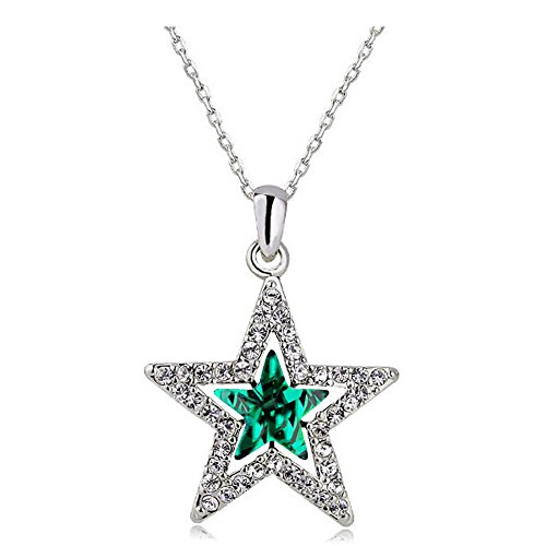 - MUZHE Hollow Double Crystal Five-Point Star Pendant Necklace Ruby Sapphire Ruler Jewelry for Women (Green)
