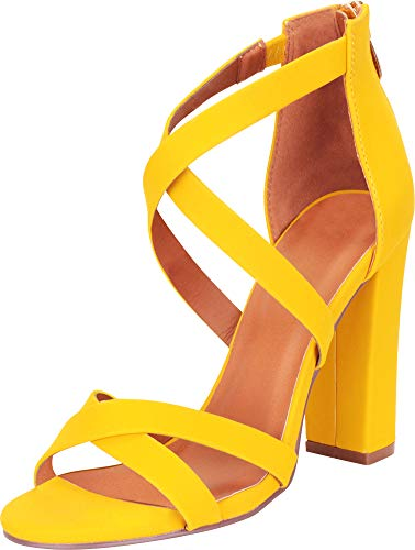 Cambridge Select Women's Crisscross Strappy Chunky Block High Heel Sandal,7.5 B(M) US,Mustard NBPU