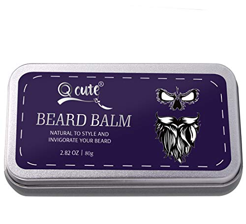 QQcute Unscented Beard Balm-Butter and Wax For Men Beard Grooming, Styling-Strengthens & Softens Beards & Mustache, Promotes Fuller Thicker Beard Growth – 2.82 Ounces Tin