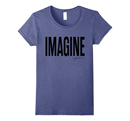 Womens John Lennon - Just Imagine T-Shirt Large Heather Blue