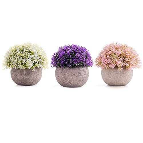 NEQUARE Artificial Plants Plastic Mini Plants Fake Flowers Greenery Decor Fake Fresh Green Grass Flower in Gray Pot Fake Plants for Decoration- 3 Pots