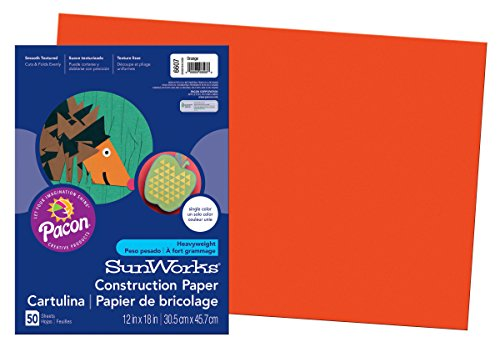 Pacon SunWorks Construction Paper, 12-Inches by 18-Inches, 50-Count, Orange (6607)
