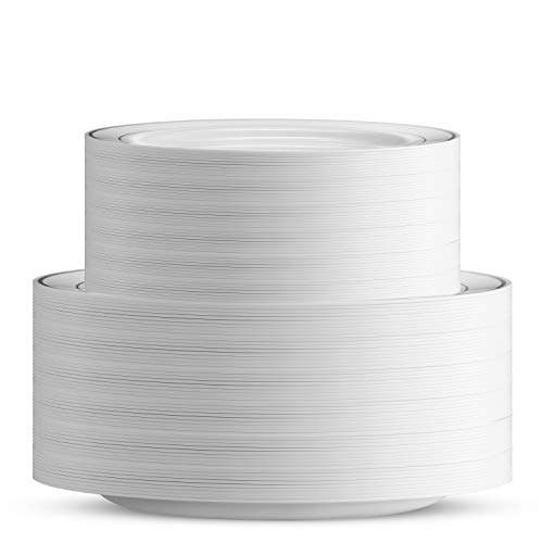 100 Piece Plastic Party Plates White Silver Rim ~ 50 Premium Heavy Duty 10.25