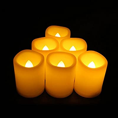 "Realistic Flickering Bright Electric Candles,LED Flameless Votive Candles Set-1.5""(D) x2(H) Long Battery Life 120+ Hours(6 Pack)"