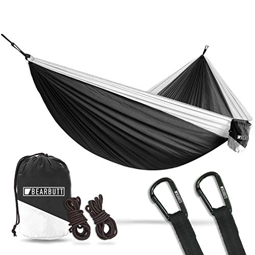 (Bear Butt Lightweight Double Camping Parachute Hammock-Large, Portable Two-Person Hammock for Hiking & Backpacking - 16 Colors Available (Black/White))