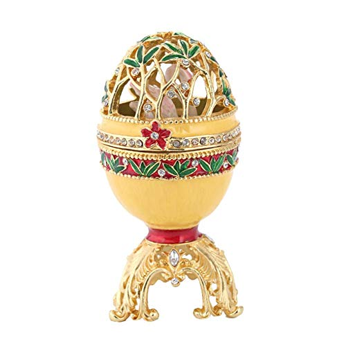 Mikolot Vintage Faberge Style Egg Collectible Enameled Hinged Egg Trinket Box Rhinestones Jewelry Storage Box Unique Gift for Home Decor ()