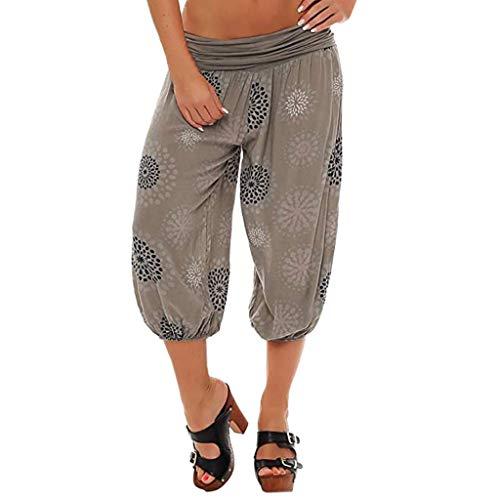 TOPUNDER Women Summer Elastic High Waist Loose Soft Shorts Calf Length Print Harem ()
