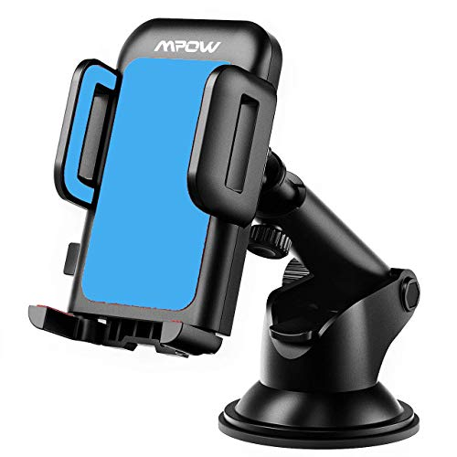 Mpow Car Phone Mount, Dashboard Car Phone Holder, Washable Strong Sticky Gel Pad with One-Touch Design Compatible iPhone Xs,XS MAX,XR,X,8,8Plus,7,7Plus,6,6Plus, Galaxy S7,8,9,10, Google Nexus, Blue