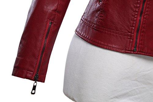 Tanming Women's Faux Leather Collar Moto Biker Short Coat Jacket (Medium, W-Red6) by Tanming (Image #6)