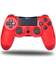 PS4 Controller,Wireless Game Controller with Dual Vibration/6-Axis Gyro Sensor, Gamepad Joystick Compatible with Playstation 4/Slim/Pro Console(Red)