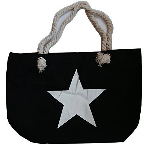 Stern Strandtasche mit Kordel Shopper Beach Tasche XXL Schultertasche (schwarz)
