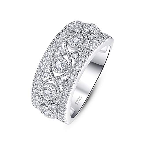 PAKULA 925 Sterling Silver Women Cubic Zirconia Wedding Band CZ Eternity Stacking Ring Size 7