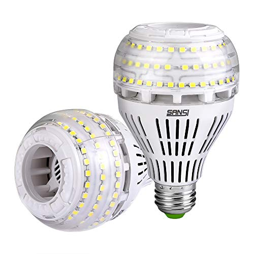 (27W (250 Watt Equivalent) A21 Dimmable LED Light Bulbs, 4000 Lumens, 5000K Daylight, 270° Omni-Directional, E26 Medium Screw Base LED Floodlight Bulb, 5-Year Warranty, SANSI (2 Pack))