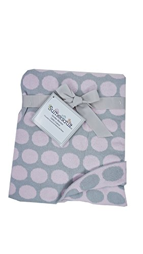 Sumersault Baby Girl Pink / Grey Circles/ Polka dots Knit Blanket Elegant Layette 100% Cotton