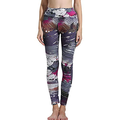 s Cropped Splash Line Print High Waisted Tunic Casual Skinny Slim Stretch Elastic Sport Yoga Pants (L,Multicolored) ()