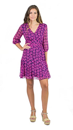 Diane von Furstenberg A-Line Silk Dress, Floral Check Rose, 4