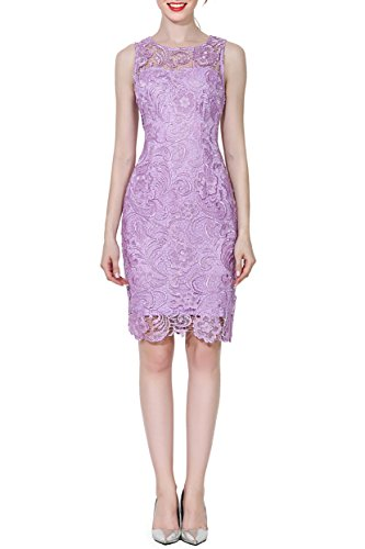 Crochet Lace Form Fitting Scoop Neck Cocktail Bodycon Dress, Lilac, M ()