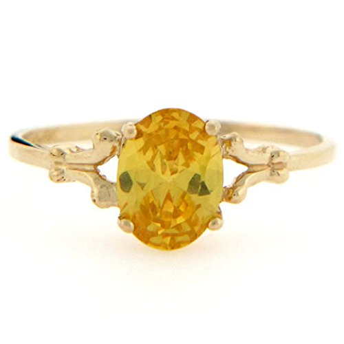 Jewelry Liquidation 10k Gold Synthetic Citrine November Birthstone Ring