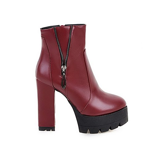Allhqfashion Round High Toe Top Women's Heels Zipper Low Boots Closed Red Solid rx1rUYWq