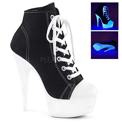 Pleaser DELIGHT-600SK-02 Women's Lace up High Heel Ankle High Top Sneaker Bootie, Color:Black Canvas/Neon White, Size:6