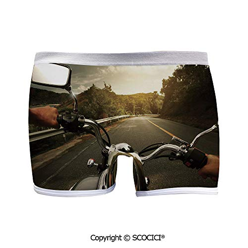 SCOCICI Breathable Boyshort Panties Rider Driving a Chopper on for Yoga/Beach
