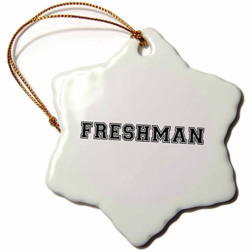 Wild Bramble 3-Inch Porcelain Snowflake Decorative Hanging Ornament, Freshman High School Or College Or University Fresher Preppy Black Text by Wild Bramble (Image #1)